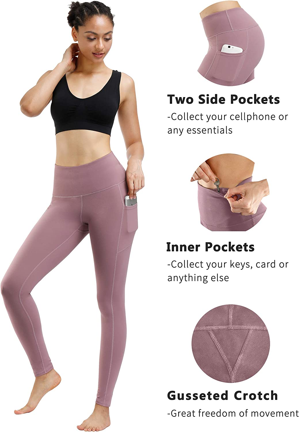 Fengbay 2 Pack High Waist Yoga Pants, Pocket Yoga Pants Tummy Control Workout Running 4 Way Stretch Yoga Leggings: Clothing