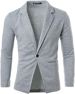 uxcell® Men Notched Lapel Long Sleeve Single Button Closure Blazer