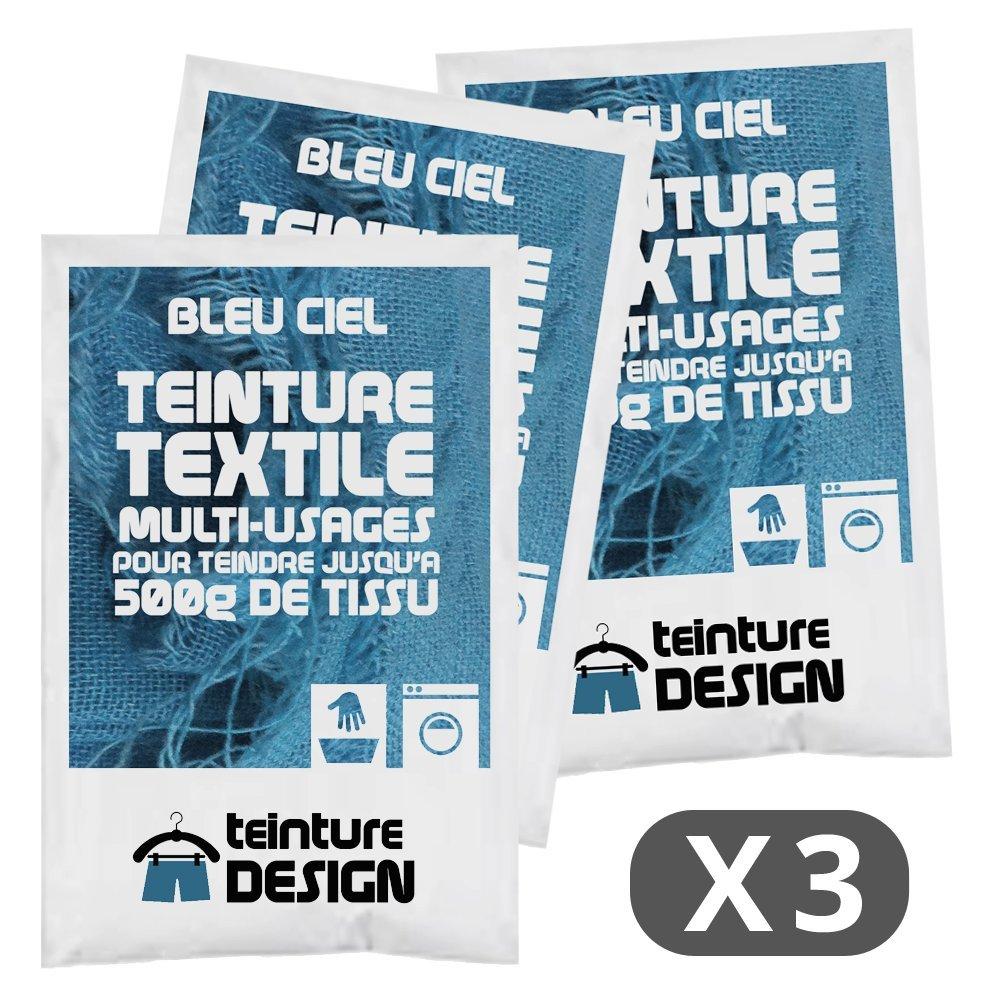 Lot de 3 sachets de Teinture Textile - BLEU CIEL - teintures universelles pour vê tements et tissus naturels Teinture Design