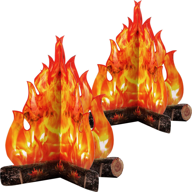 3D Decorative Cardboard Campfire Centerpiece Artificial Fire Fake Flame Paper Party Decorative Flame Torch (Gold Orange)