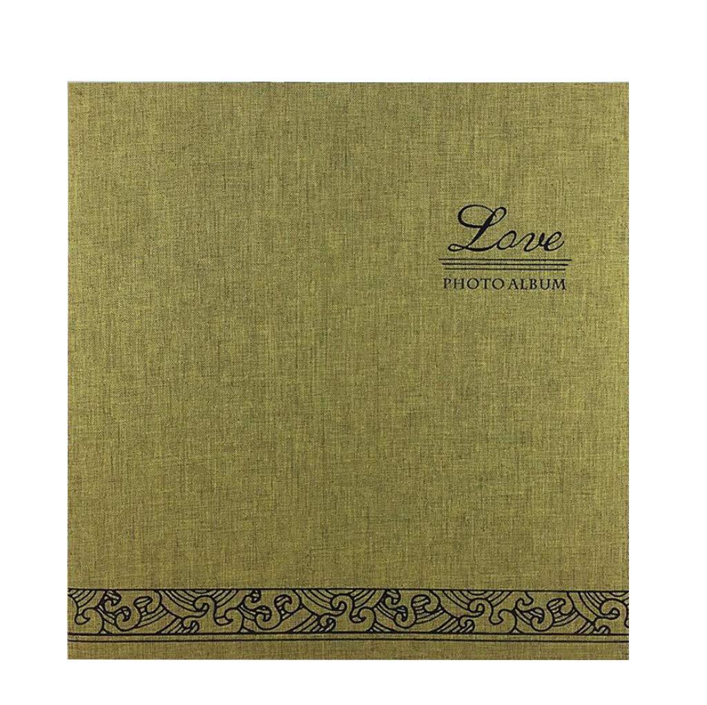 HUYYA プロフェッショナルフォトアルバムブック - リネンカバー12インチ磁気スクラップブックアルバムレトロフィルムDIY創造的な新年の贈り物アルバムの結婚式の本棚のアルバム,green  Green B07K33JXV9