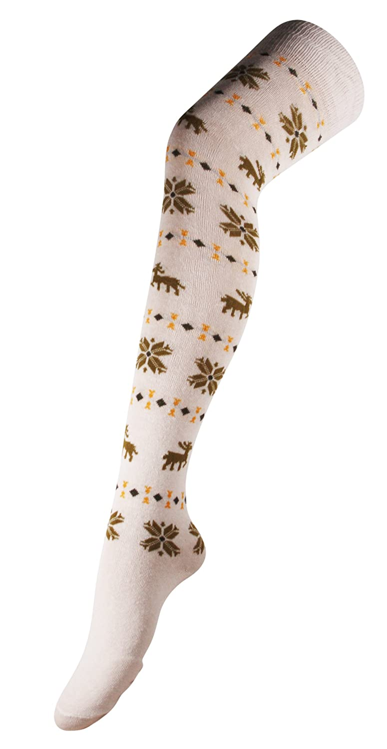 592393b257e Womens Over The Knee Thigh High Thick Aztec Stripe Star Long Socks in  Cream  Amazon.co.uk  Clothing