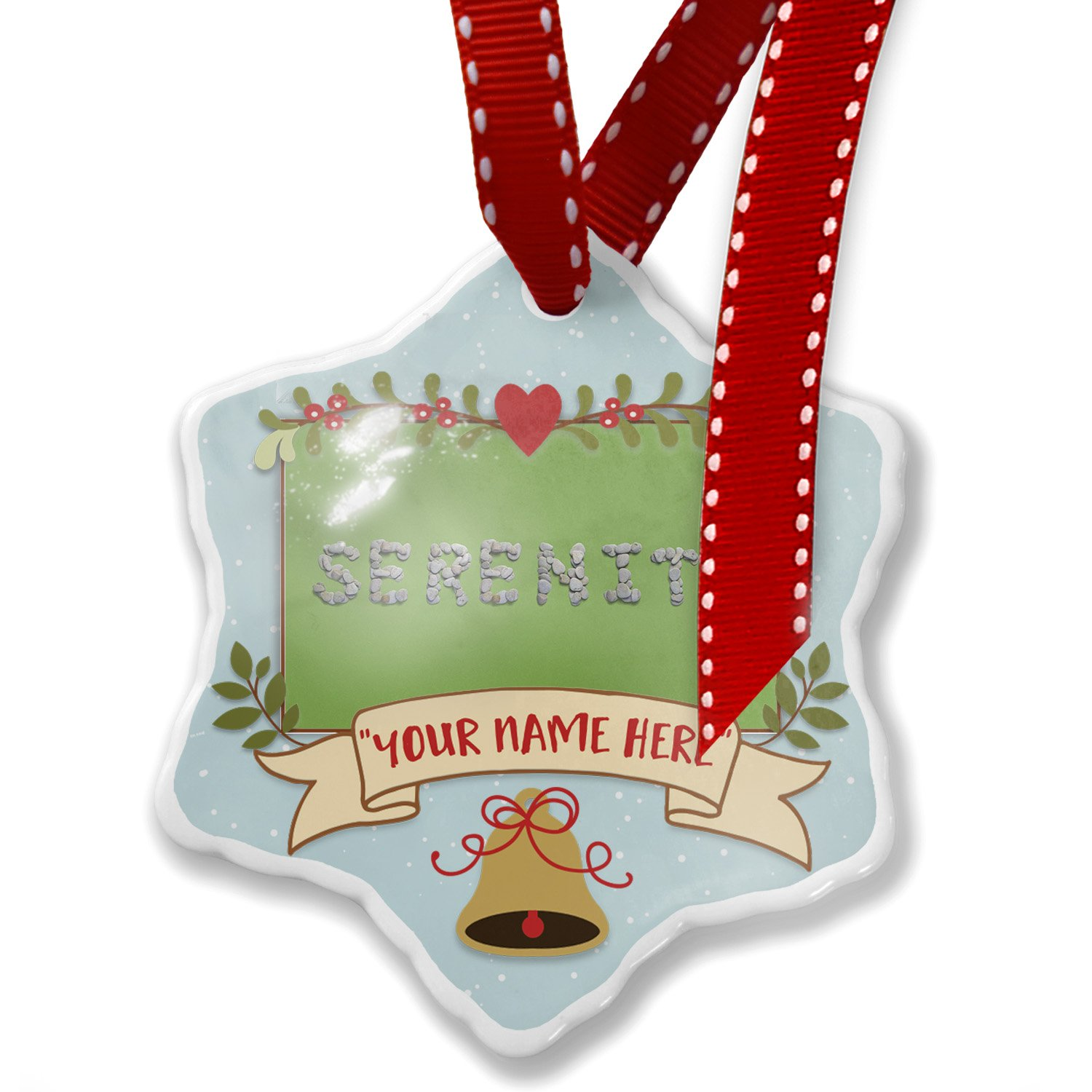 Add Your Own Custom Name, Serenity Spa Stones Rocks Christmas Ornament NEONBLOND