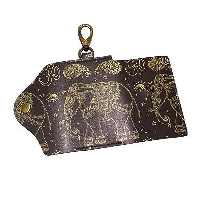 DEYYA Elephant Leather Key Case Wallets Unisex Keychain Key Holder with 6 Hooks Snap Closure