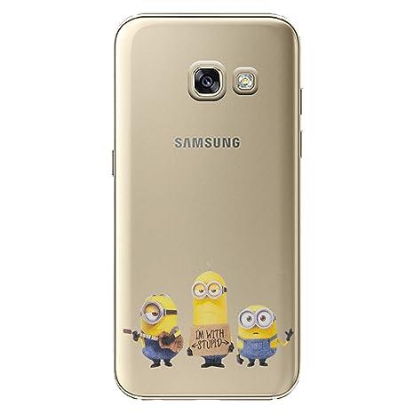 I-CHOOSE LIMITED Minions Funda/Carcasa del Teléfono para Samsung Galaxy A3 2016 / Gel/TPU / Estoy con Estúpido