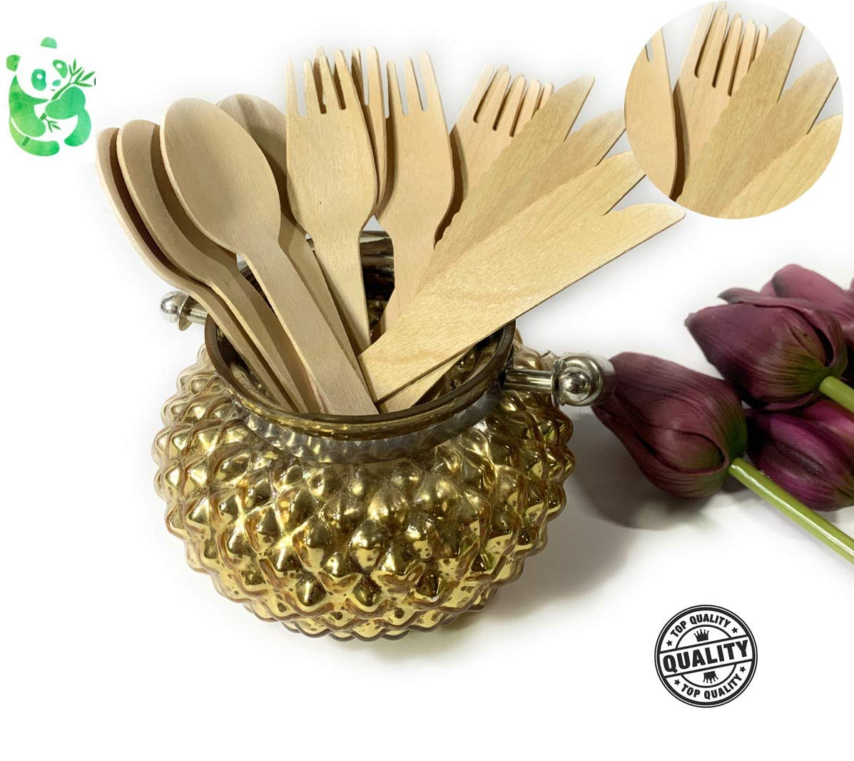 Gruener Panda 150 x Cuchillos Vajilla desechable Cuberteria desechable Tenedores y cucharas estables de Madera| Ecol/ógico y compostable