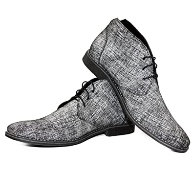 9c3ef97e576ebd PeppeShoes Modello Grislo - 39 - Handgemachtes Italienisch Leder Herren  Grau Stiefeletten Chukka Stiefel - Rindsleder