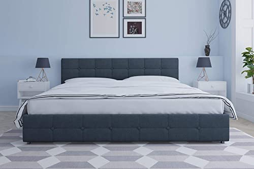 DHP Rose Upholstered Bed with Storage, Blue Linen, King