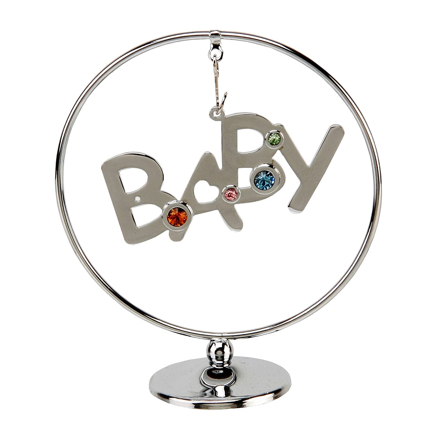 CRYSTOCRAFT CHROME PLATED CIRCLE RING - 'BABY'
