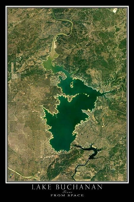 Amazon Com Lake Buchanan Texas Satellite Poster Map L 24 X 36 Inch