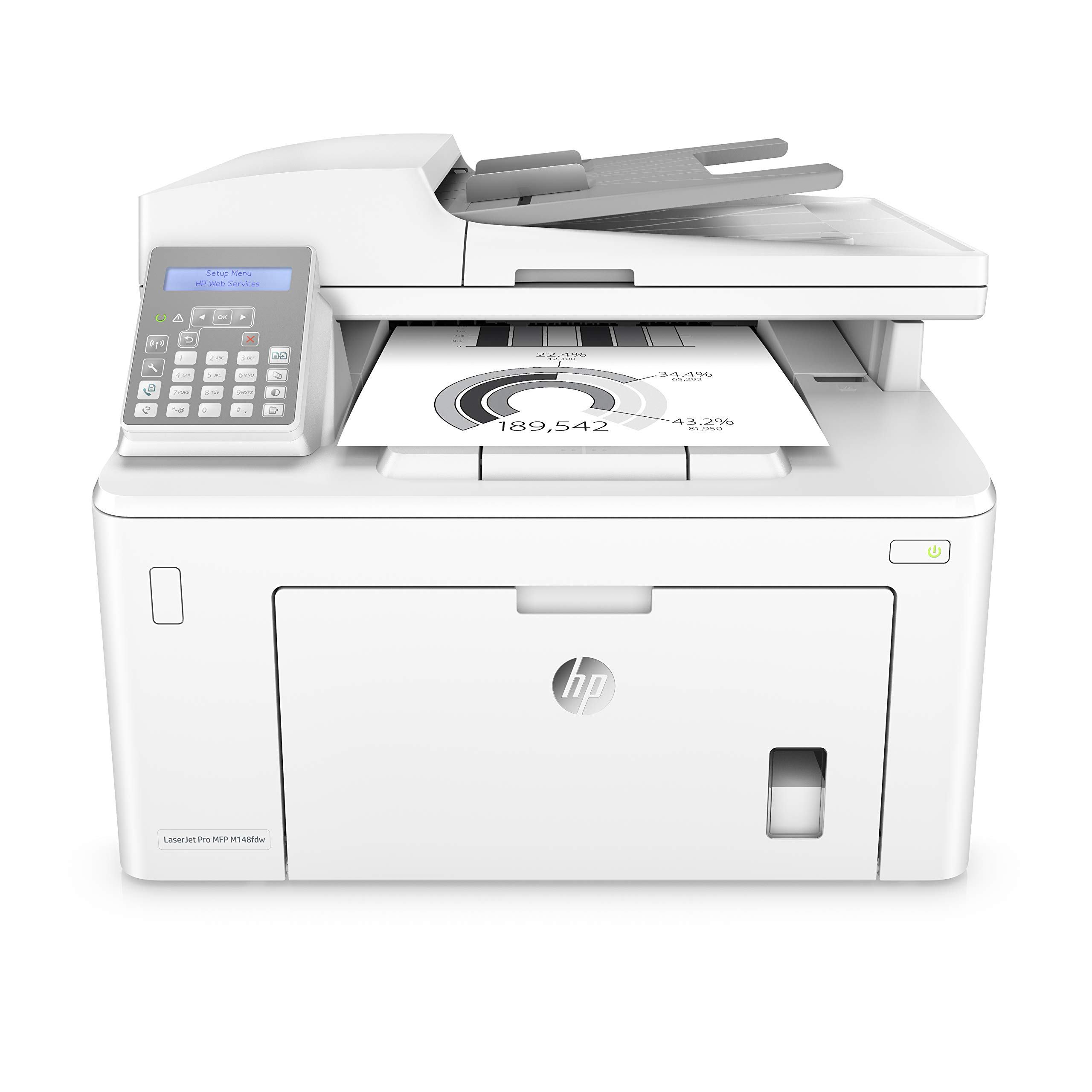 HP Laserjet Pro M148fdw All-in-One Wireless Monochrome Laser Printer with Auto Two-Sided Printing, Mobile Printing, Fax & Built-in Ethernet (4PA42A) by HP