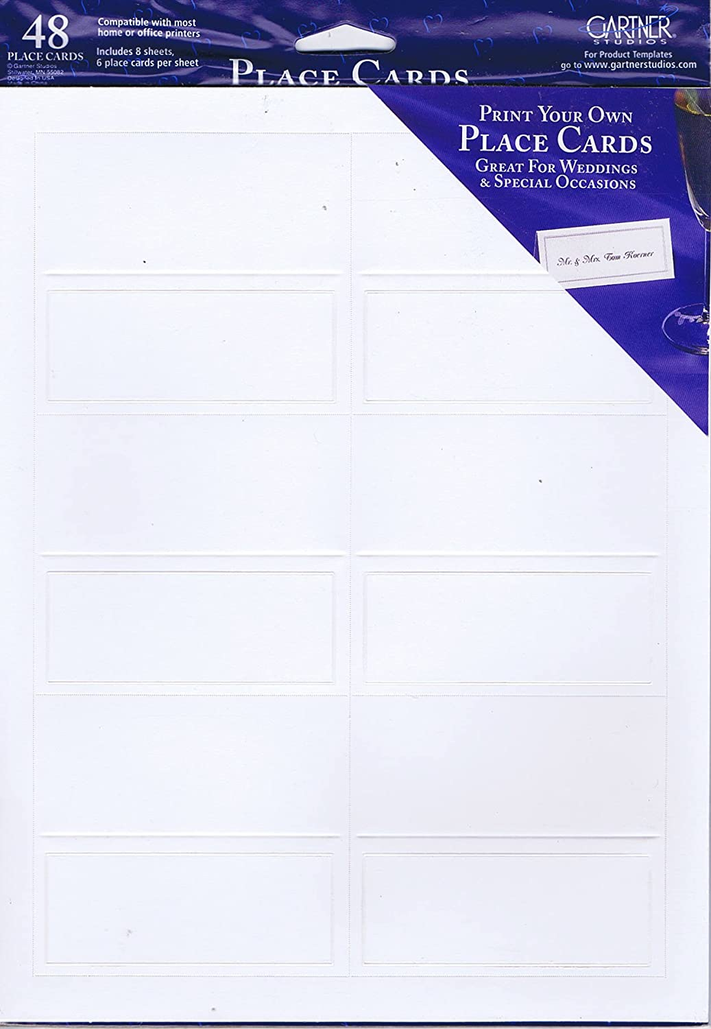 amazoncom gartner studios place cards white with pearl border 48 ct office products