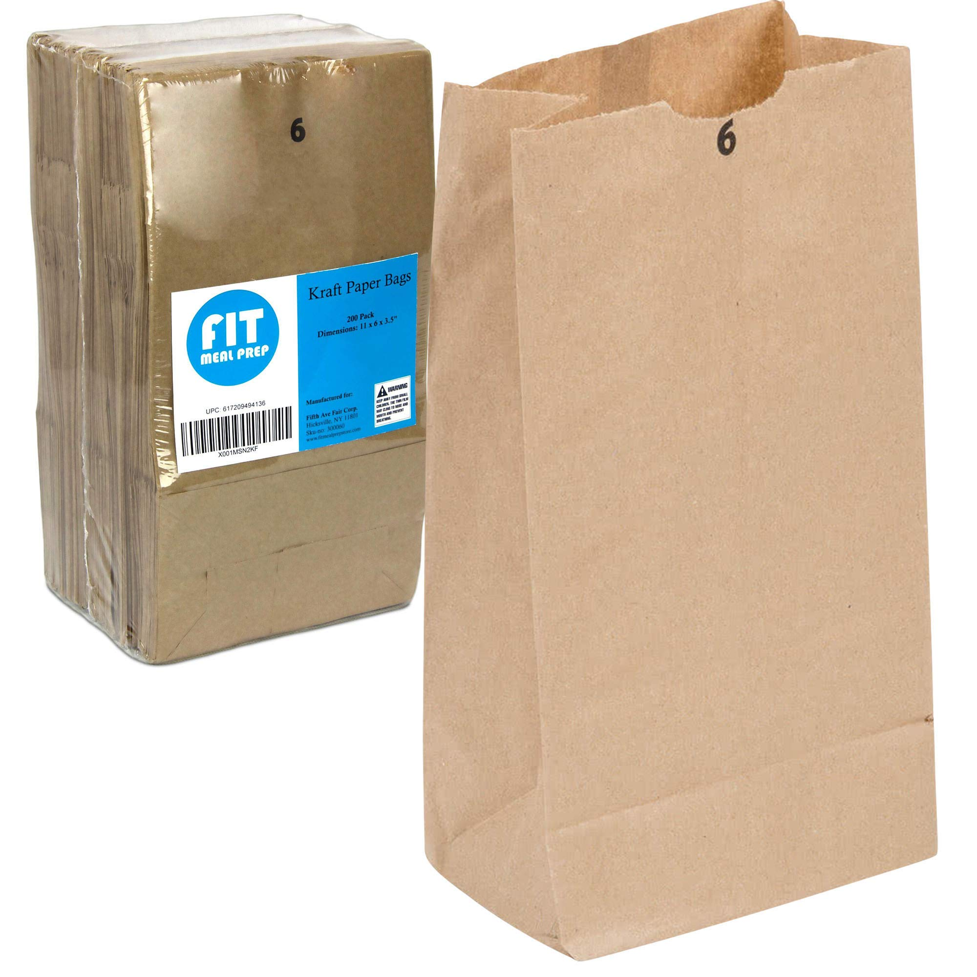 Kraft Paper Bags 11 x 6 x 3.5'' 6 LB Grocery Lunch Retail Shopping Durable Bleached Barrel Sack [200 Pack]