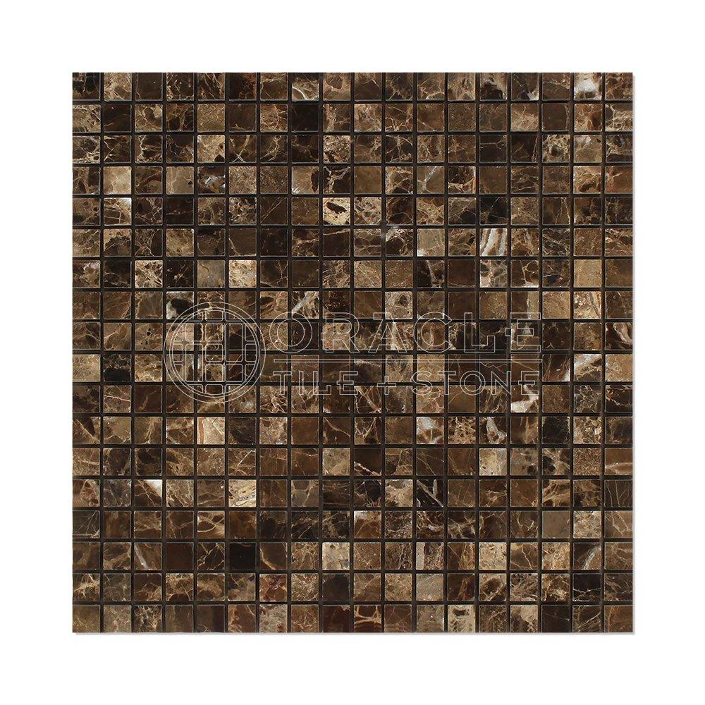 Emperador Dark Spanish Marble 5/8 X 5/8 Mosaic Tile, Polished
