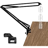 Adjustable Microphone Suspension Boom Scissor Arm Stand,Load 1 KG Compact Mic Stand Made of Steel for Radio Broadcasting…