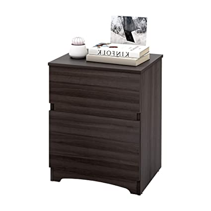 d0ccd083955 Amazon.com  WLIVE 2 Drawer Nightstand - Black Wood Grain Bedside Drawer for  Bedroom  Kitchen   Dining