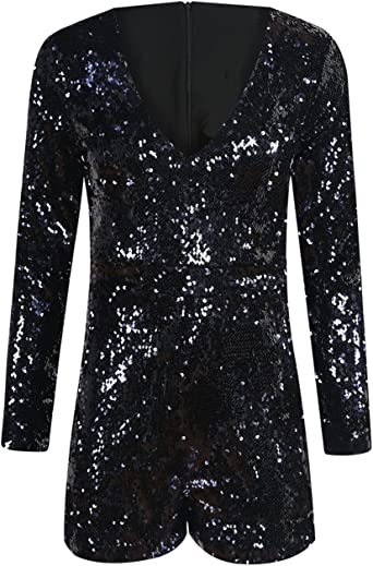 ASMAX HaoDuoYi Womens Mardi Grass Sparkly Sequin V Neck Party Clubwear Romper Jumpsuit