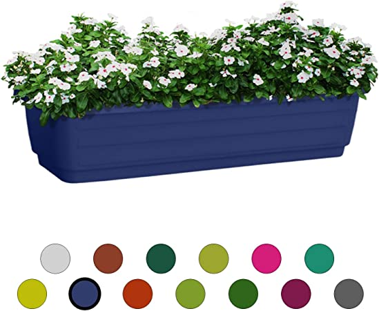 Atzmon Plastic Window Box Planter 24-Inch White 1