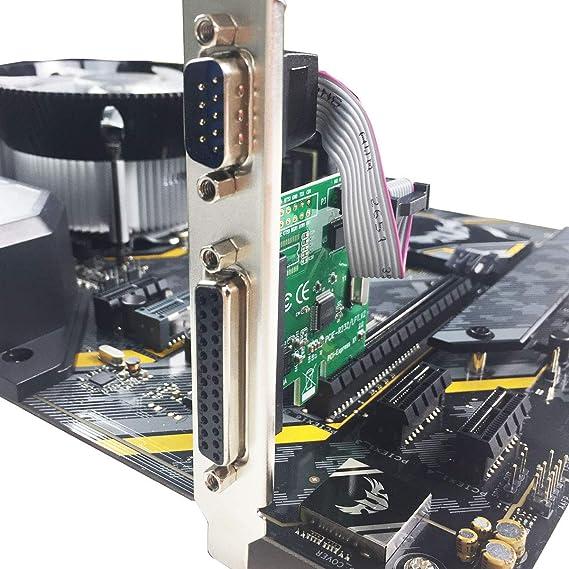 glotrends Tarjeta de expansión paralela PCIE a 1 puerto Serial RS232 + 1 DB25 LPT con soporte de perfil bajo PCI-E 1S1P.: Amazon.es: Electrónica