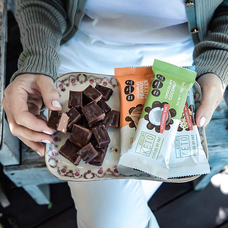 Kiss My Keto Snacks Keto Bars - Keto Chocolate Cookie Dough, Nutritional Keto Food Bars, Paleo, Low Carb/Glycemic Keto Friendly Foods, All Natural On-The-Go Snacks, Quality Fat Bars, 3g Net Carbs by Kiss My Keto