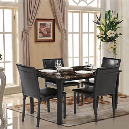 breakfast bar 5pcs dining set chair table marble seat kitchen furniture leather ebay. Black Bedroom Furniture Sets. Home Design Ideas