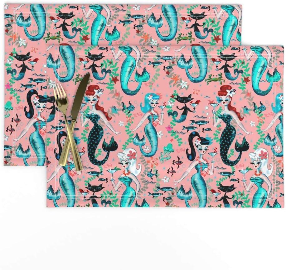 Martini Mermaids Vintage Retro Mermaid 100/% Cotton Sateen Sheet Set by Roostery