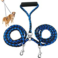 Moseng Double Leads,Dual Dog Parade No-Tangle Double Dog Lead Leash Splitter Coupler, Blue and Black