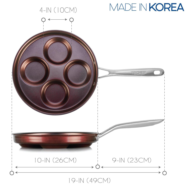 TECHEF - Sartén Eggcelente, Sartén Sueca Pancake, Plett Pan, Revestido con Nuevo Teflon Select/Antiadherente Revestimiento (PFOA Free): Amazon.es: Hogar