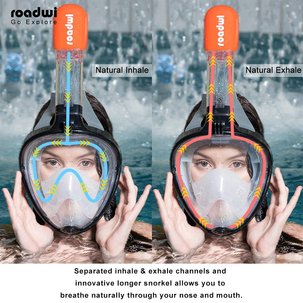 180° Full Face Snorkel Mask- Free Breathing Wide Panoramic View Snorkeling Mask, Soft Adjustable Head Straps with Anti Fog and Anti Leak Design(Black,L/XL>12cm)