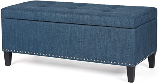Homebeez Large Storage Ottoman Bench Tufted Fabric Footrest