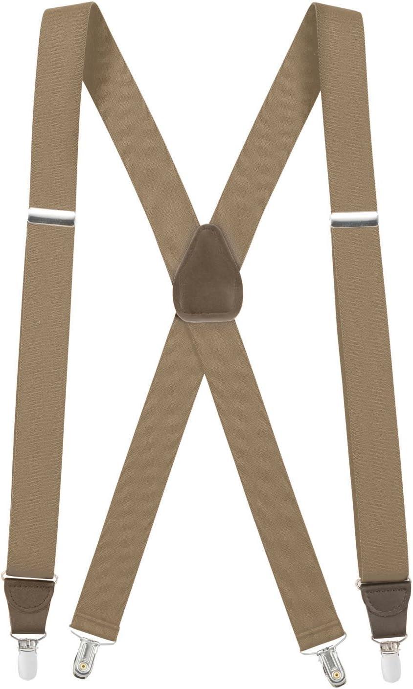 Regular 46 HoldEm Suspender Men X-Back Clip on Leather Crosspatch-Brown