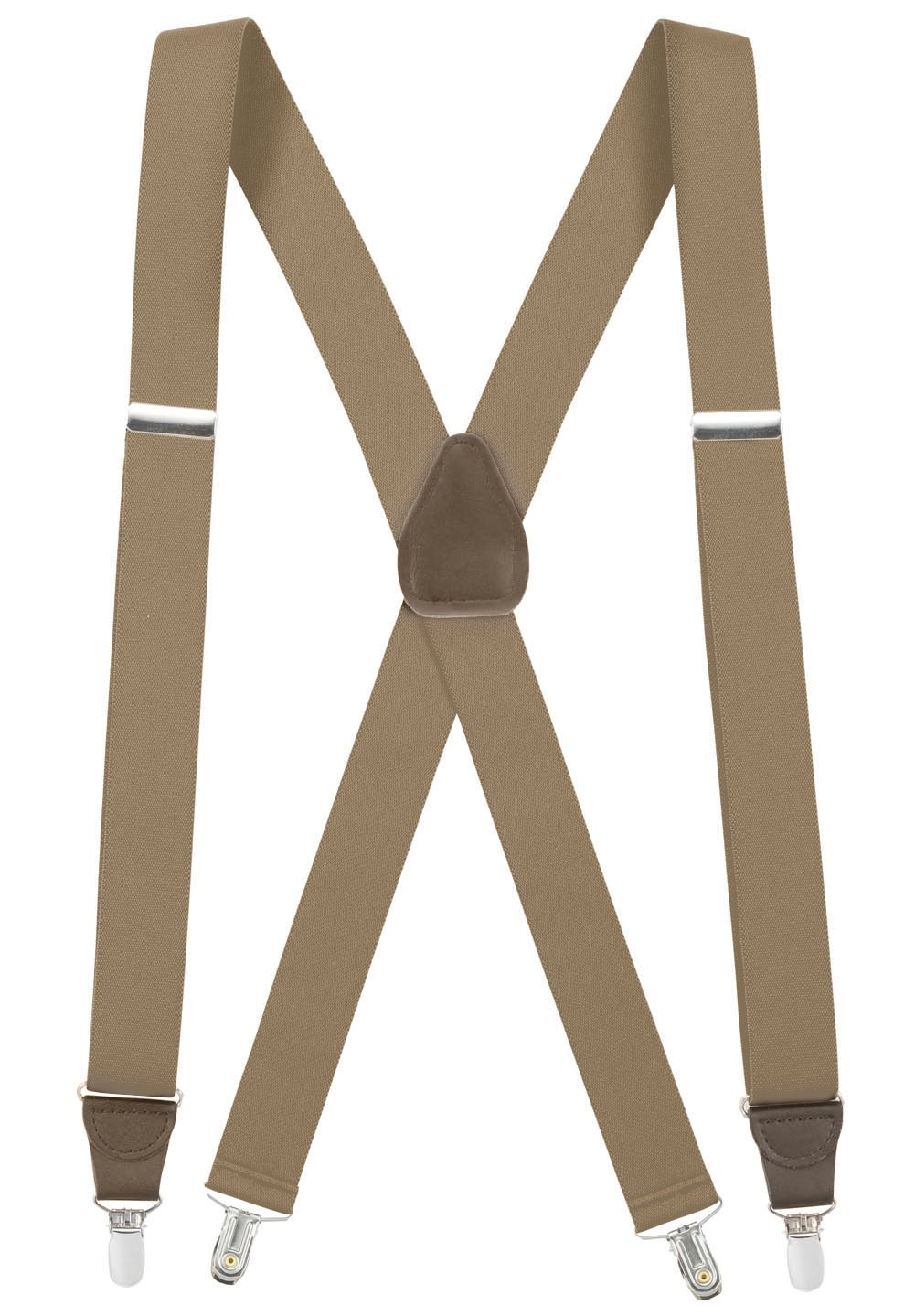 Hold'Em Suspender for Men Made in USA X-Back Genuine Leather Crosspatch Clip on tuxedo suspenders Many Colors Available-Tan (Regular, 46'' Long)