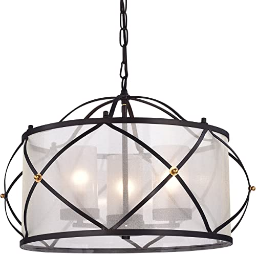 Edvivi Merga 3-Light Oil Rubbed Bronze Wrought Iron Drum Ivory White Shade Chandelier Ceiling Fixture