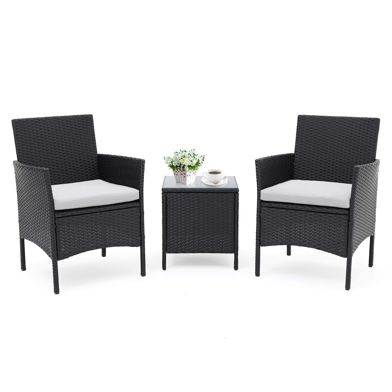 Patiomore 3 Pieces Outdoor Bistro Set Cushioned Furniture Set PE Wicker Patio Chairs with Coffee Table Black