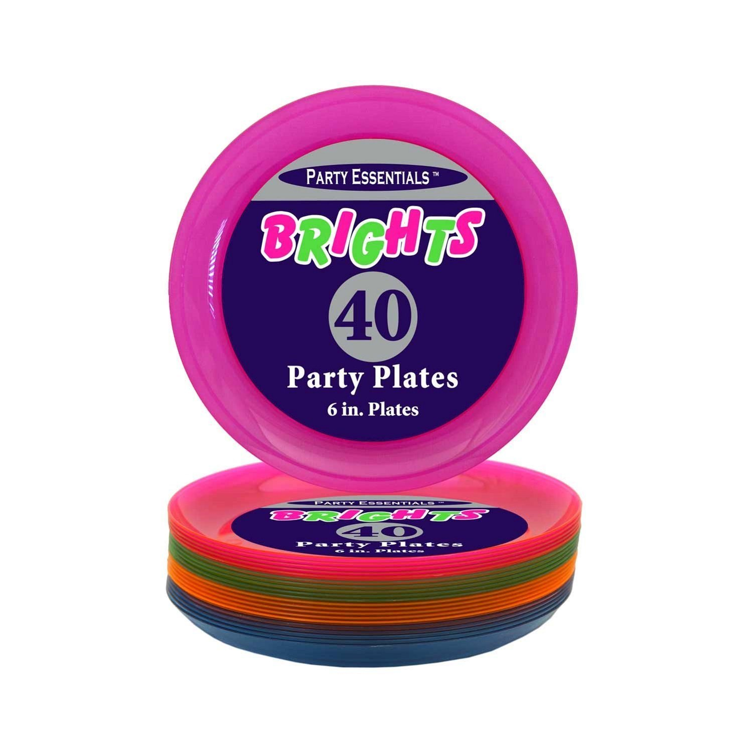 Amazon.com Party Essentials Hard Plastic 6-Inch Round Party/Dessert Plates Assorted Neon 40-Count Childrens Party Plates Toys u0026 Games  sc 1 st  Amazon.com & Amazon.com: Party Essentials Hard Plastic 6-Inch Round Party/Dessert ...