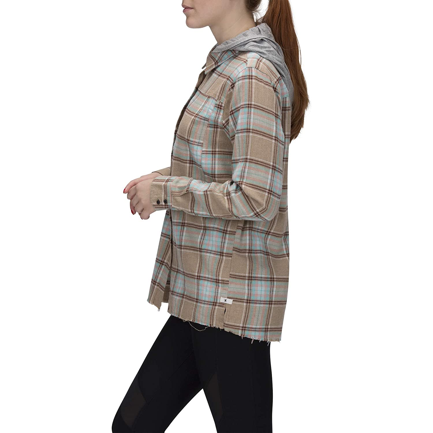 Hurley Womens Plaid Collared Long Sleeve Button Down Shirt