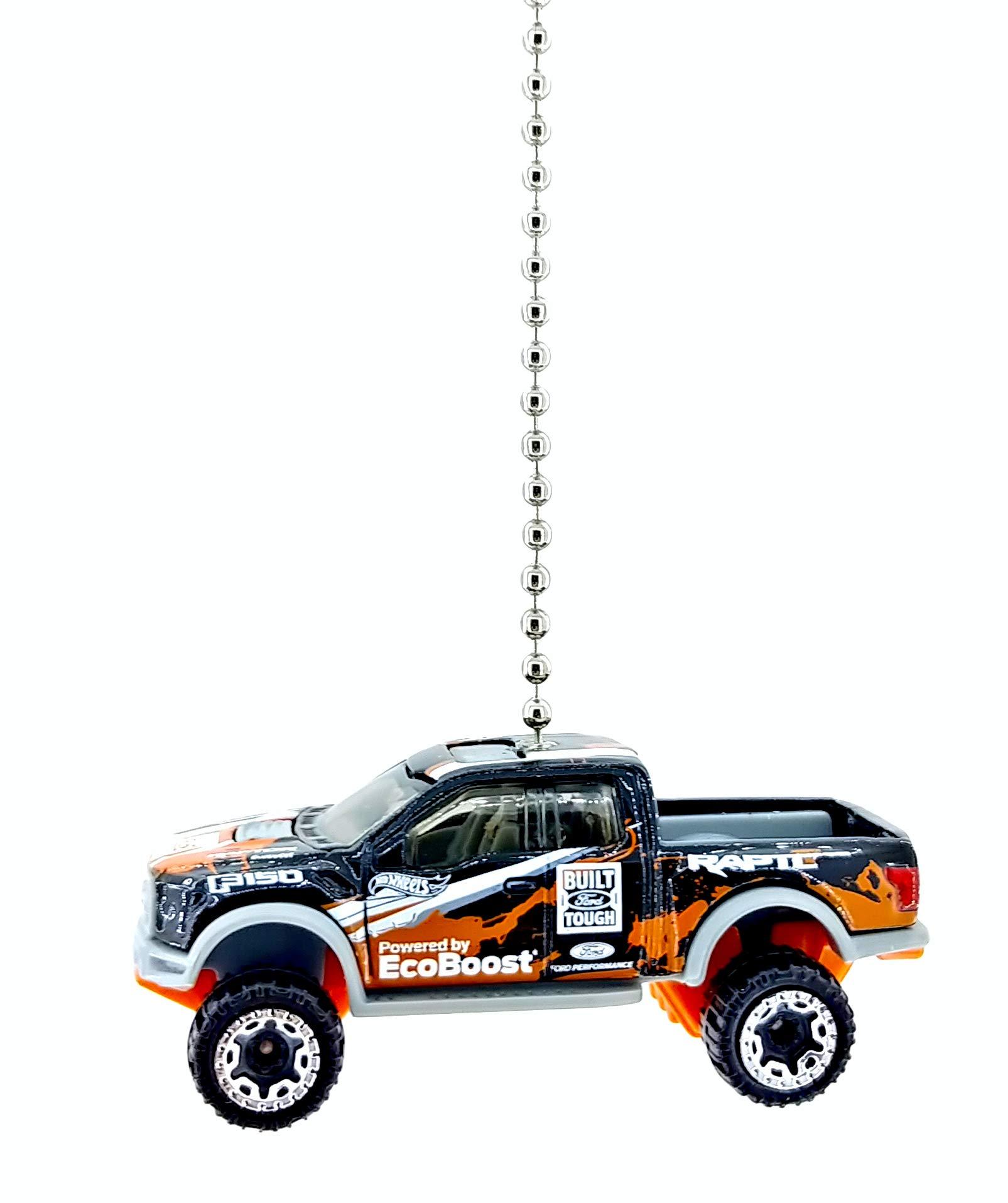 Ford Truck Diecast Ceiling Fan Pull Chain Ornaments 1/64 (2017 Ford F-150 Raptor Black Orange)