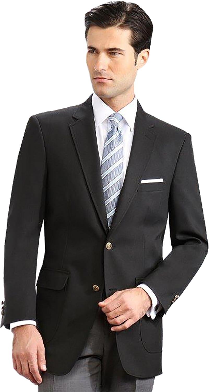 54L, Black Mens Elegant Classic 2 Button Blazer Sport Jacket