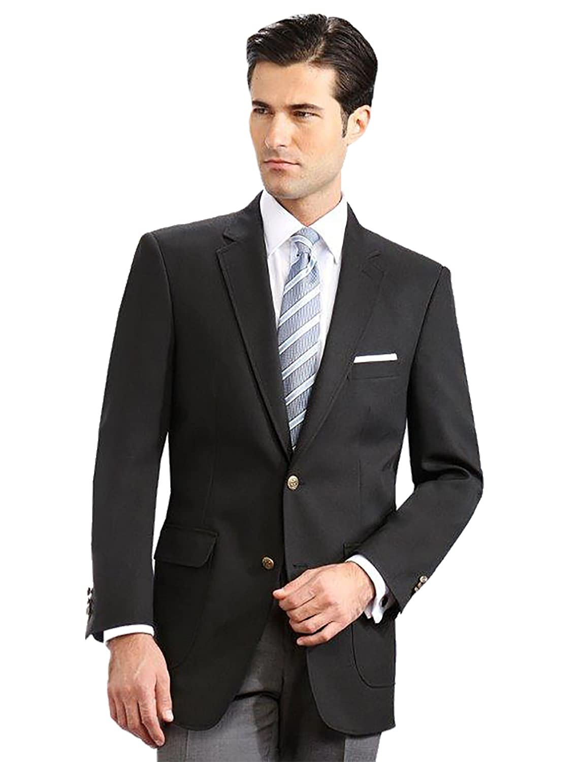 Men's Elegant Modern 2 Button Notch Lapel Blazer - Many Colors (48 Short, Black) 2011C