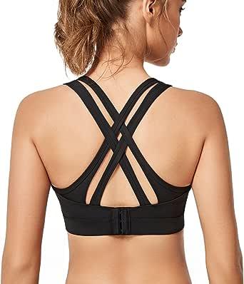 Yvette Sports Bra - Criss Cross Back Yoga Bra Gym Workout High Impact
