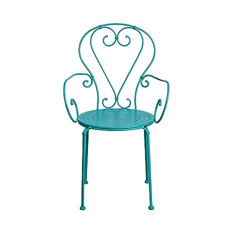 Butlers Century Stuhl Mit Armlehnen In Turkis 53x49x91 Cm Gartenstuhl Mit Armlehne Aus Eisen Stuhl Fur Balkon