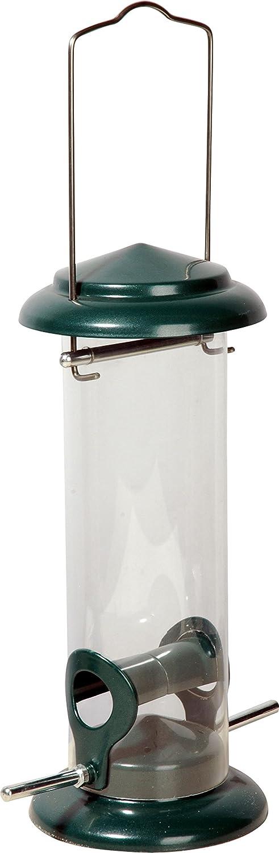 dobar 11516plexiglás Forro de Columna con 2aproximación Barras, Metal de Comedero para Colgar, diámetro 9,5x 23cm, Color Verde