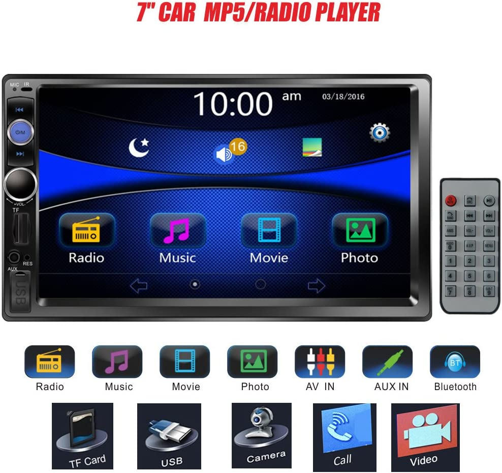 2 Din 7inch Car Stereo Audio MP5 Player Indash Double Din HD Touch Screen Bluetooth Car Stereo Multimedia GPS MP5 MP3 Player Support FM//AUX//TF Card//USB//Rearview Camera//Remote Control