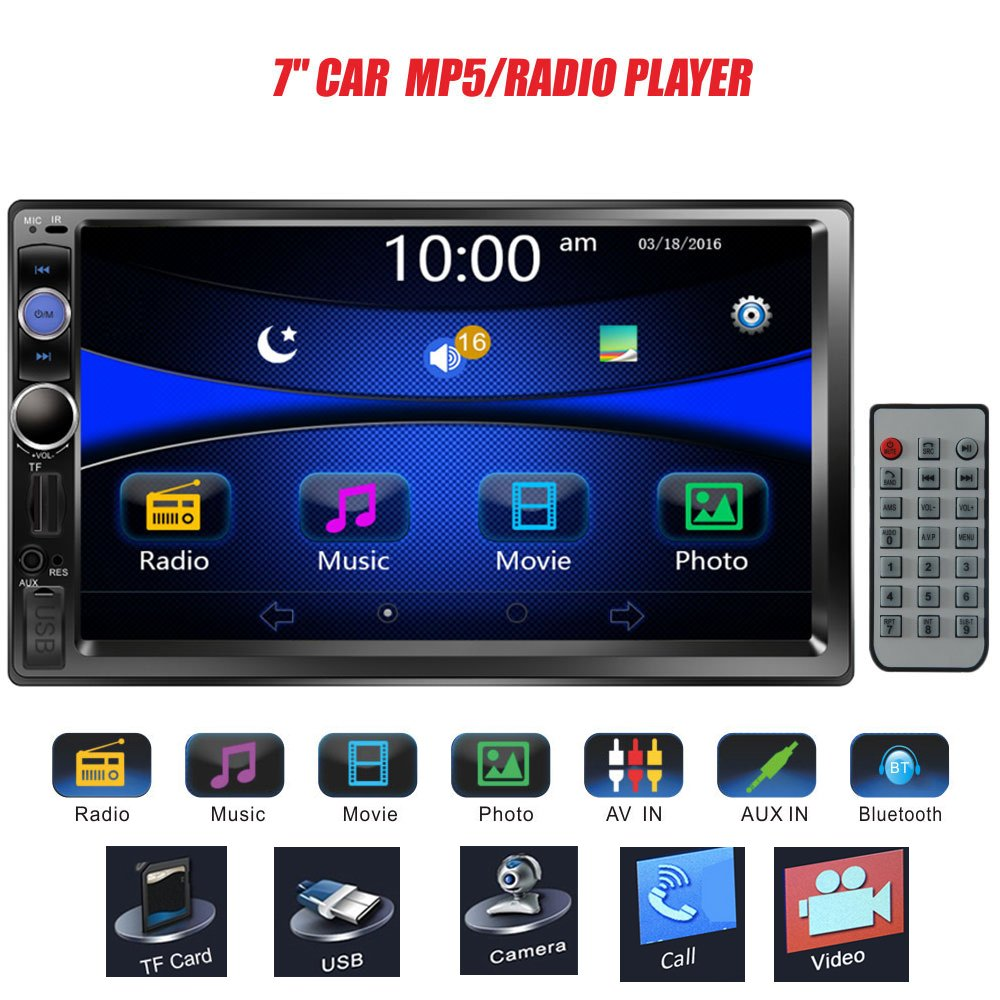 Regetek 7'' Double DIN Touchscreen in Dash Bluetooth Car Stereo Mp3 Audio 1080P Video Player FM Radio/AM Radio/TF/USB/AUX-in + Remote Control