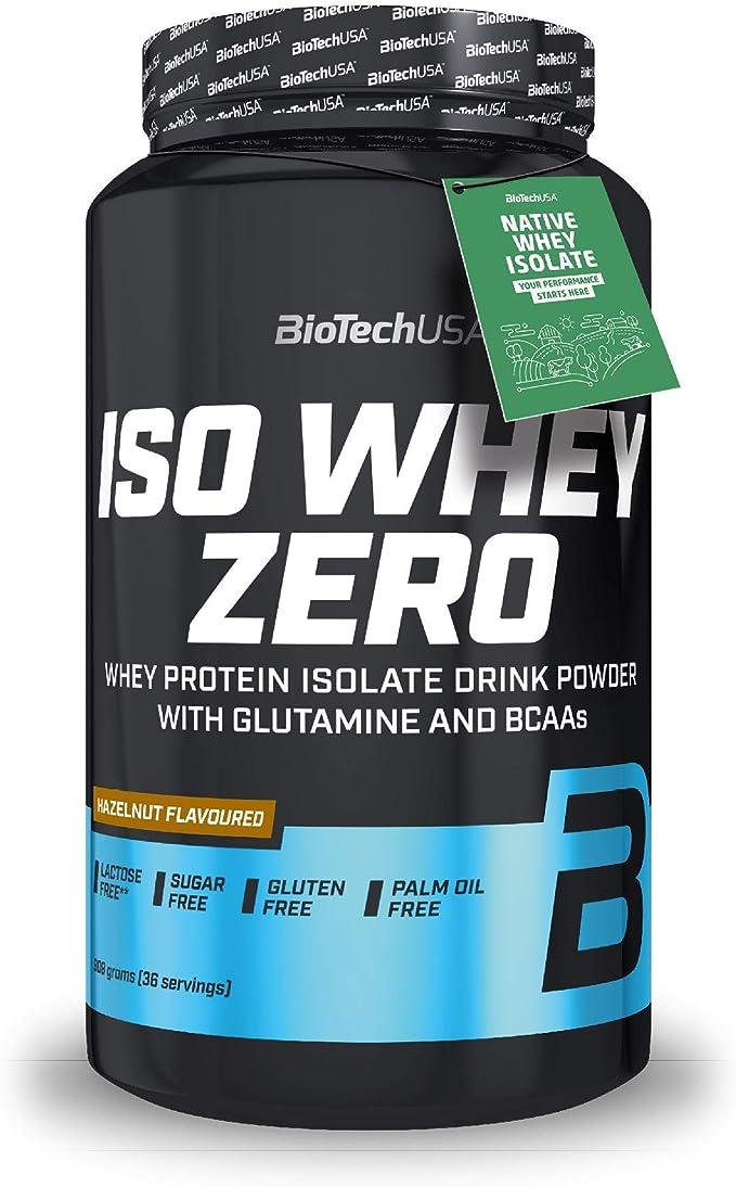 BioTechUSA Iso Whey ZERO, Lactose, Gluten, Sugar FREE, Whey Protein Isolate, 908 g, Avellana