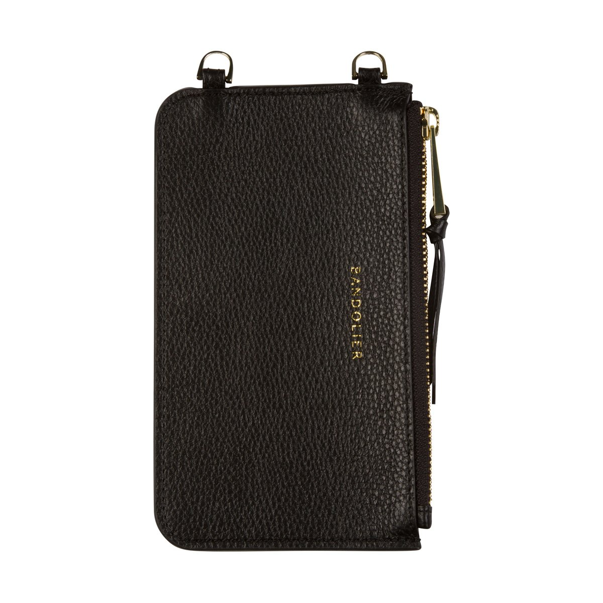 Bandolier [Emma] Leather Zip Pouch - Black Pebble Leather with Gold Detail - Compatible with All Bandolier Phone Cases by Bandolier