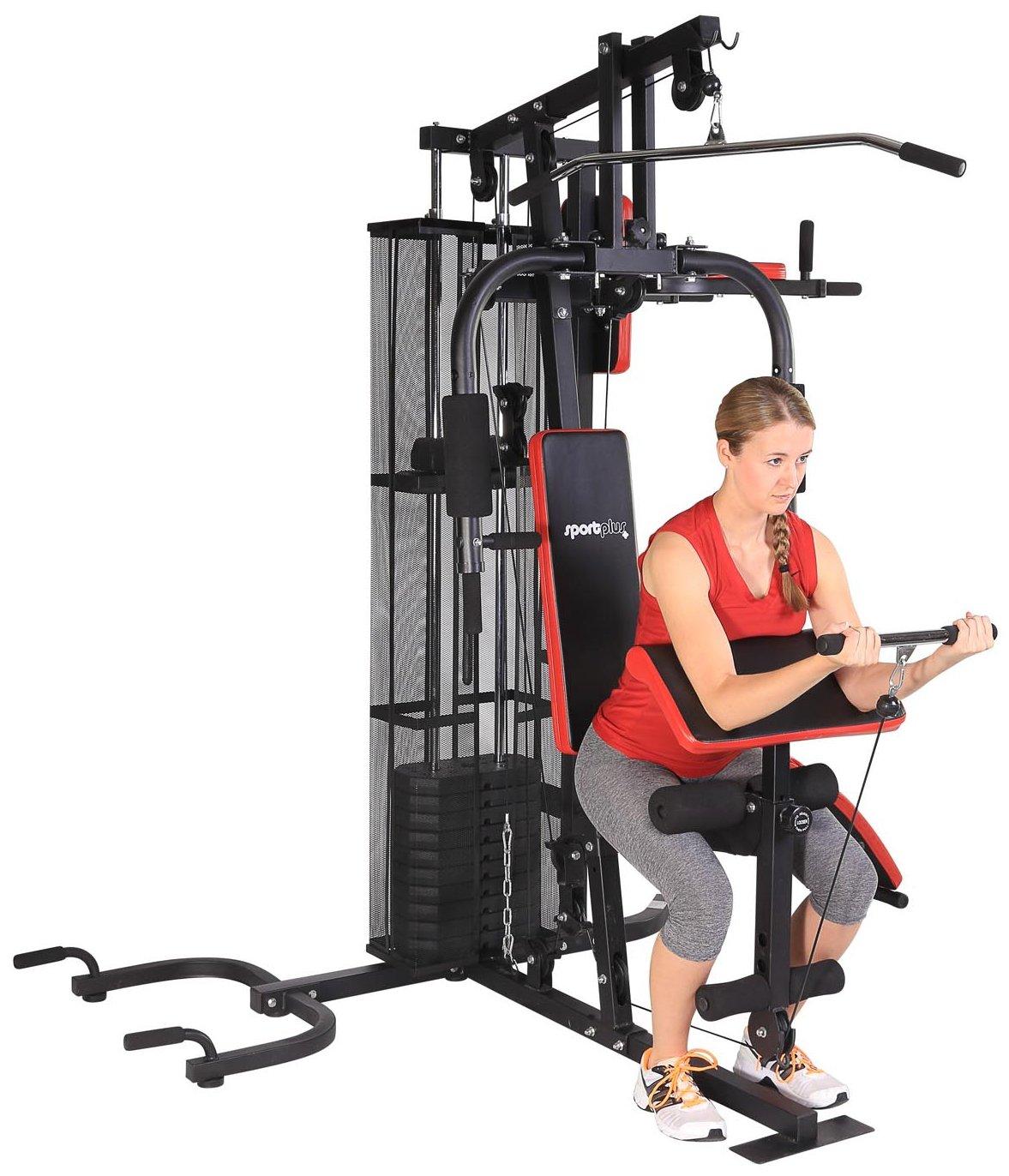 SportPlus Multiestación de Musculación para el Hogar, Entrenamiento Funcional con Pesas para Todo el Cuerpo con Instrucciones de Montaje y Ejemplos de ...