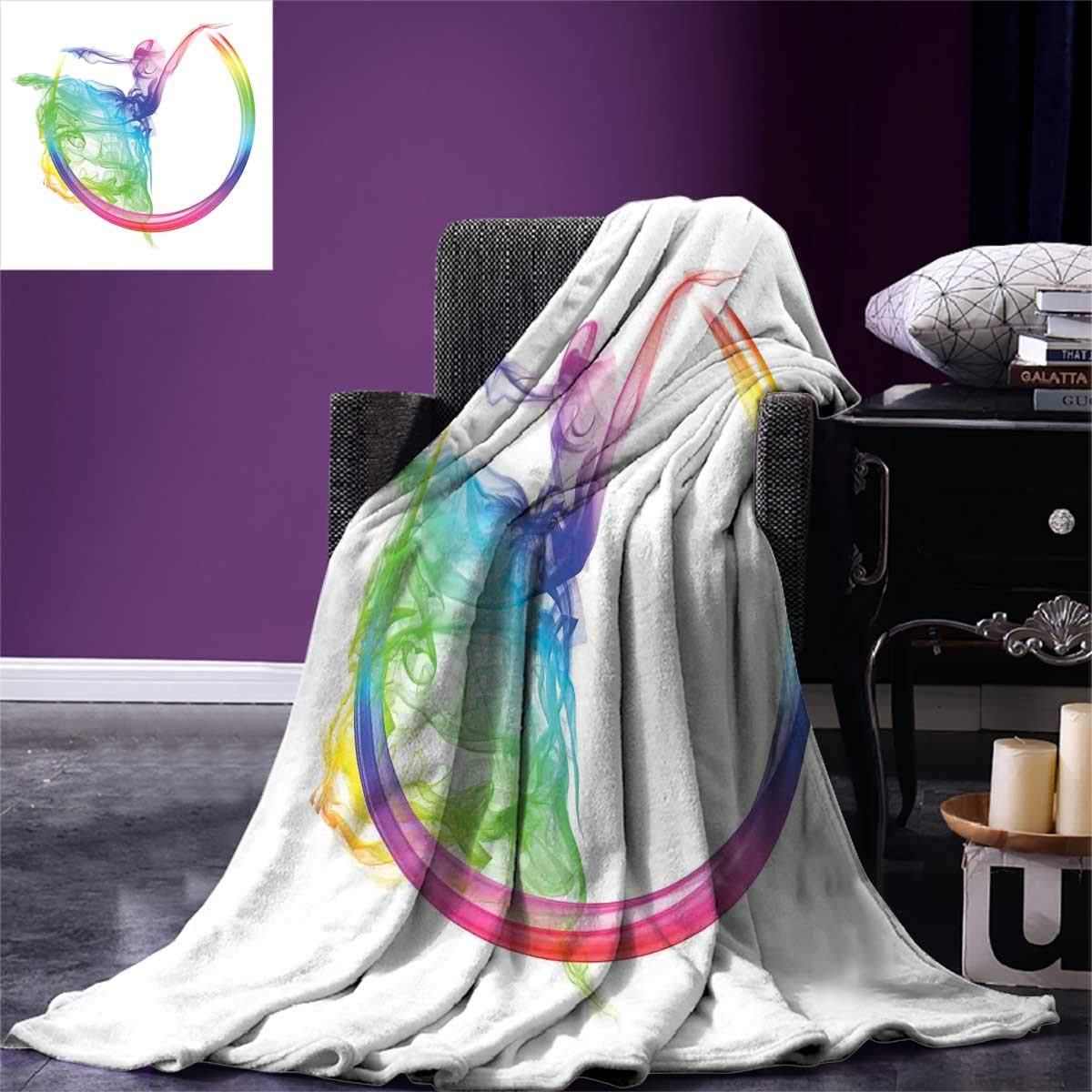 Abstract Home Decor,Picnic Blanket,Smoke Dance Shape Silhouette of Dancer Ballerina Rainbow Colors Fantasy,Beach Blanket,Size:60''x50'' by Anlongfive (Image #1)