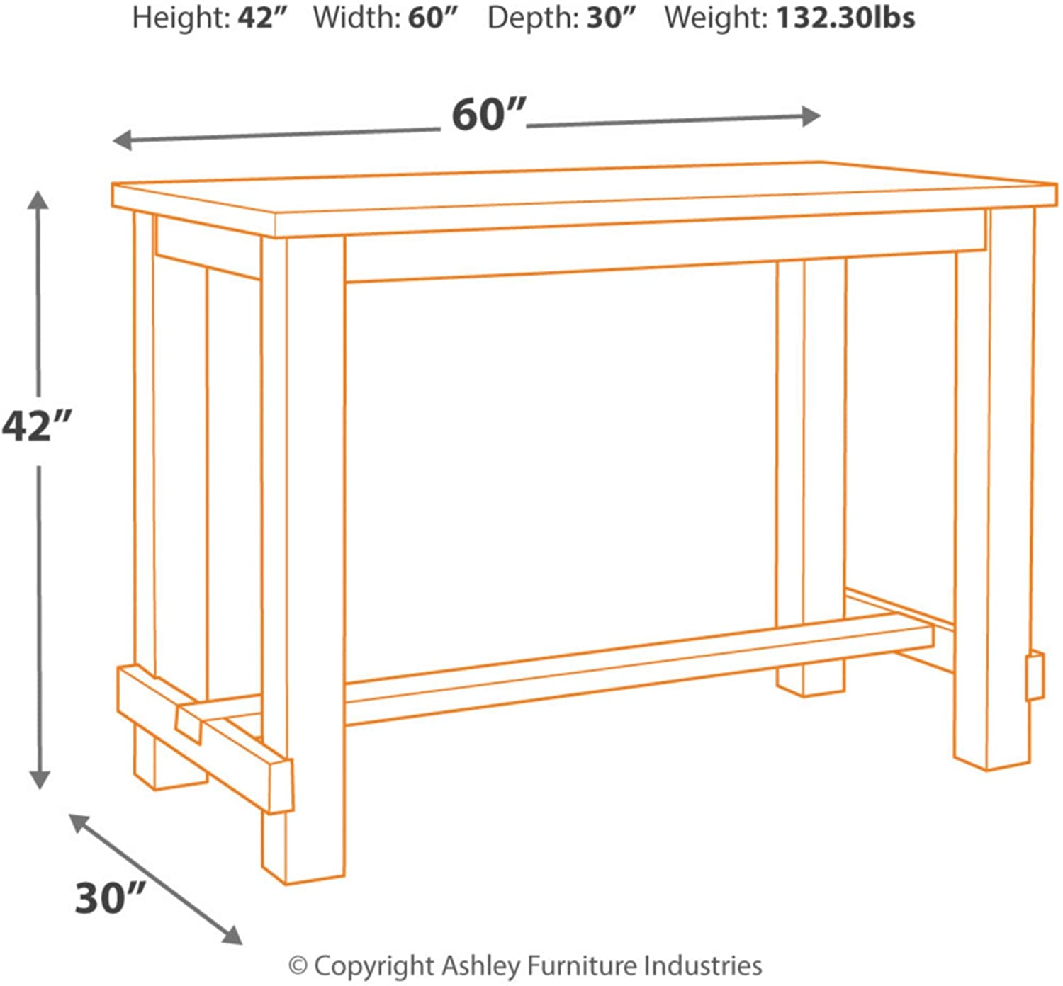 Signature Design by Ashley Drewing Bar Height Table, Brown: Furniture & Decor