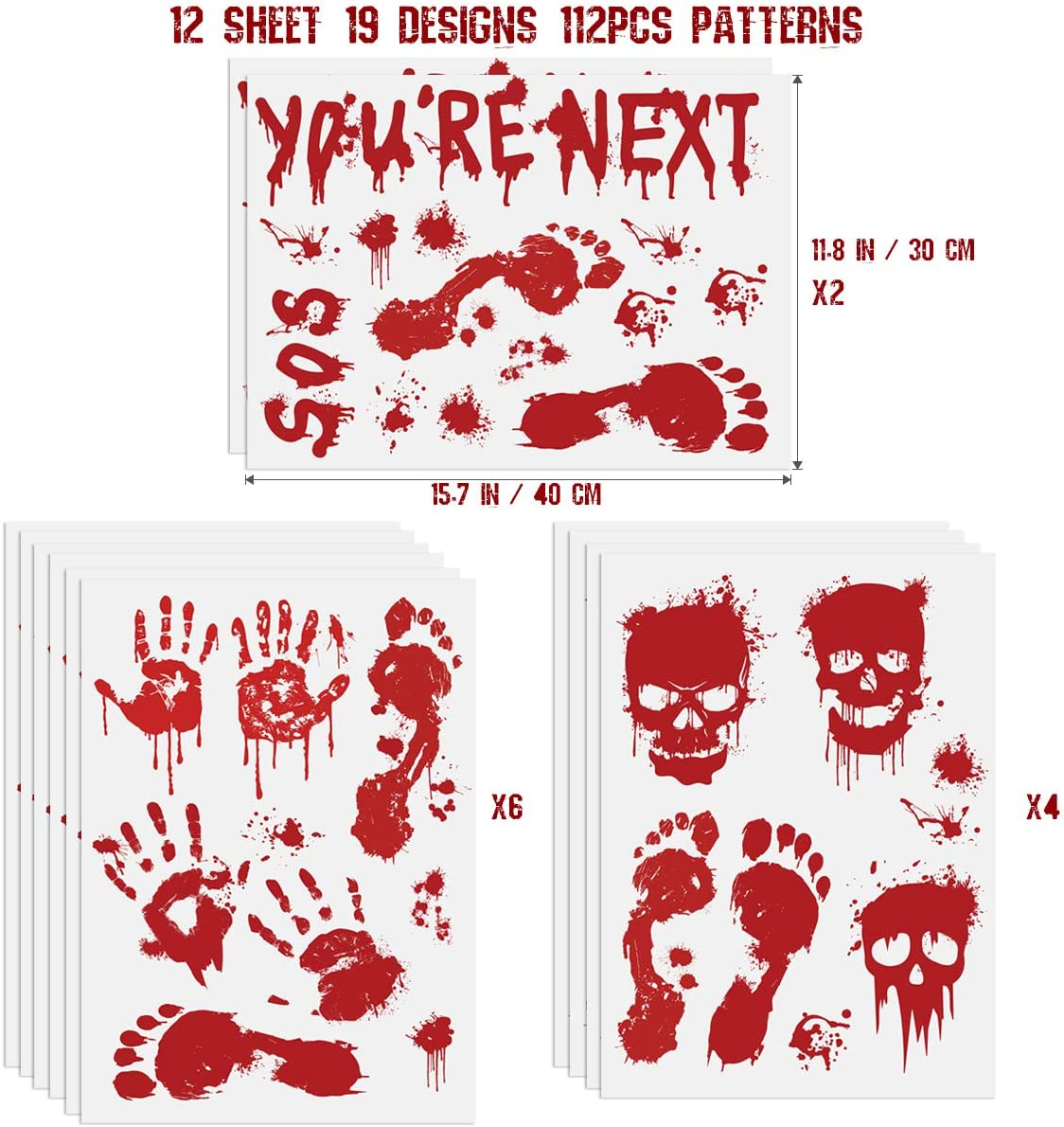 Halloween Window Clings, 12 Sheets Bloody Handprint Footprint Skull Blood Decor Floor Clings for Halloween Decorations 112 PCS